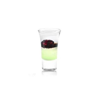 Black Pearl (Черная Жемчужина) - авторский  слоистый коктейль в шоте, со вкусом яблока, нотками бальзамического уксуса и целой ягодой ежевики.