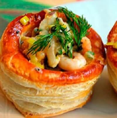 Валованы с печеным перцем и креветками