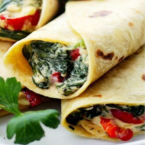 Тортилья со шпинатом и фетой