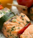 Жареные шампуры лосося